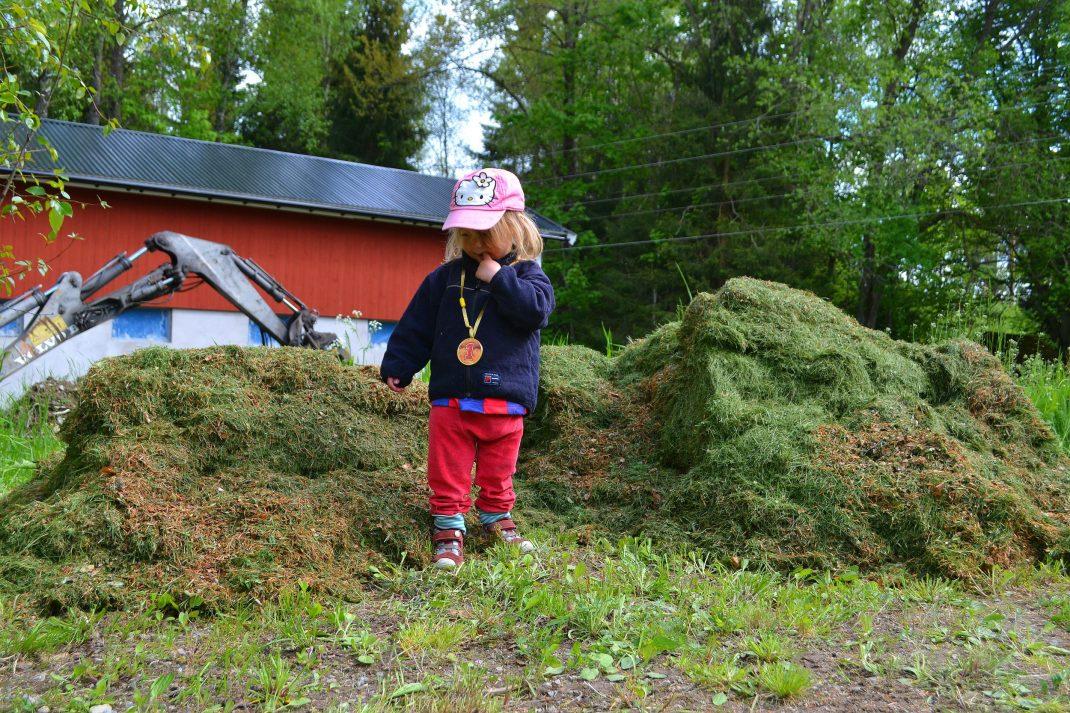 En jättestor gräshög med en liten tjej i rosa keps framför.